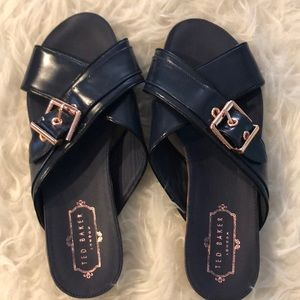 Ted Baker Navy blue slides/sandals rose gold buckl